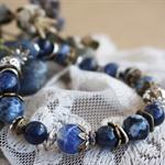 "Bohemian ""Skyline"" Boho Gypsy Chic Victorian Deep Royal Blue Rustic Bracelet"