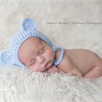 Baby Bear Bonnet  / Newborn Photography / Blue / Cheeky Monkey Hat
