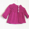 3-6 mths Baby, Wool, Long Sleeve Lacy Cardigan, Hand Knit