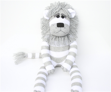 'Leonard' the Sock Lion - grey and white stripes - *MADE TO ORDER*