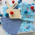 Baby Gift Set - Flannel Blanket, Burp Cloth, Felt Ball Garland, Bandana Bib