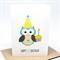 1st Birthday Card Boy - 1st Birthday Boy Party Owl with Cupcake - HBC198