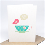 Get Well Soon Card - Pink Birdie on a Turquoise Tea Cup - GWS012