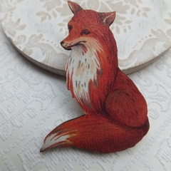Vintage Fox Wooden Brooch