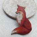 Vintage Fox Wooden Brooch