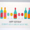 Birthday Card Female - Wine Bottles and Glasses - HBF157
