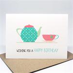 Birthday Card Female - Tea Pot with Teacup - HBF159
