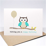 Birthday Male Card - Happy Birthday - Owl with Balloon on a Branch - HBM067