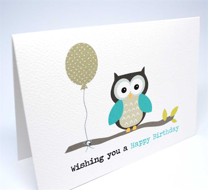 Birthday Male Card Happy Birthday Owl With Balloon On A Branch