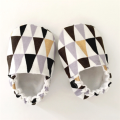 Geo Monochrome & Gold Soft Sole Baby Shoes.