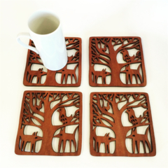 Midnight Animals jarrah coasters (set of 4)