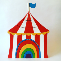 Hand painted Wooden Circus tent stacker with rainbow door. (9 Piece)
