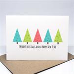 Christmas Card - 5 Polkadot Christmas Trees - XMS031
