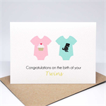 Baby Twin Boy and Girl Card - 2 Baby Rompers with Pictures - BBYTWN017
