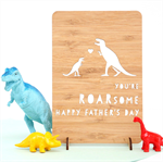 Father's Day You're Roarsome card laser cut bamboo wood Happy Fathers Day Dad