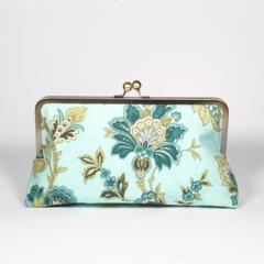 Wild garden in olive large clutch purse