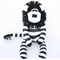'Lando' the Sock Lion - black and white stripes - *MADE TO ORDER*