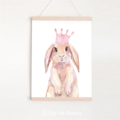 Princess Bunny - Children's art. Watercolour rabbit with crown. A4 Print