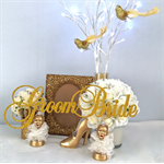 Bride-Groom Gold Glitzy Glam Bridal Table-Chair Decoration Photo Prop 50th Decor