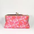 Fuchsia paisley large clutch purse