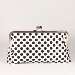 Black spots large clutch purse