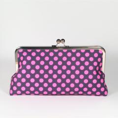 Lilac spots large clutch purse