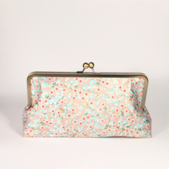 Metallic gold cherry blossoms large clutch purse
