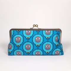 Journey in azure large clutch purse