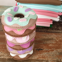 Value pack of 3, Felt donuts, play food, pincushion, doughnuts, room decor