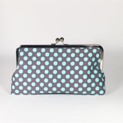 Blue spots large clutch purse