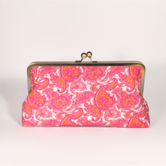 Fuchsia paisley large clutch purse