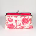 Flora in white large clutch purse