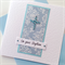 Baptism christening congratulations damask lush crystal cross celebrate card