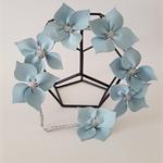 CELESTESILVER  Light Blue Leather Crown ,Flower Headpiece, Wedding Fascinator
