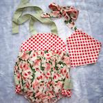 Baby Girls Vintage Inspired Frill Romper set. Super Cute matching headband & bib