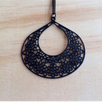 LARGE MATTE BLACK FLORAL LOVE FILIGREE PENDANT NECKLACE - FREE SHIPPING