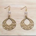 SMALL MATTE GOLD FLORAL LOVE SWAROVSKI FILIGREE EARRINGS - FREE SHIPPING