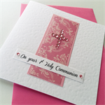 First 1st holy communion congratulations damask  crystal cross celebrate card