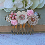 Field of Flowers Collage Bridal Comb, Wedding Comb, Collage Bridal Comb, Bridal