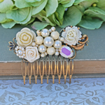 Upcycled Bridal Comb, Wedding Comb, Collage Bridal Comb, Bridal Hair Comb