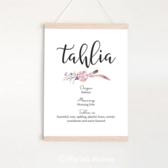Girls Name Meaning Print. Personalised printable children's art.