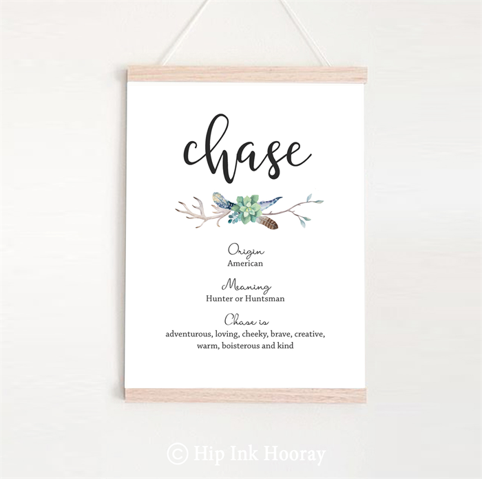 Boys Name Meaning Print  Personalised printable children's