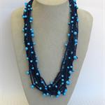 Blue Turquoise Crochet Cotton Necklace Handmade OOAK  by Top Shelf Jewellery