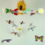 Bright & Happy Bugs, Flowers Mobile, 18 pieces