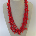 Red Orange Crochet Cotton Necklace Handmade OOAK  by Top Shelf Jewellery