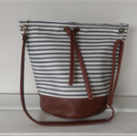 Handbag: Leather and Striped Canvas.