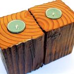 Timber Tea light Holders (pair) #art0067