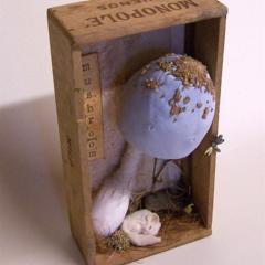Soft Sculpture, Fabric Mushroom with Dormouse, Toadstool, Fungi, Fungus