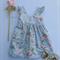 Daisy Blue Floral Girl Tea Party Dress, Girl, Toddler
