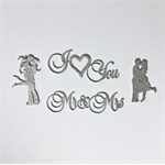Mr & Mrs, I Love you Silver Glitz & Glamour Wedding  or 25th Anniversary Accents